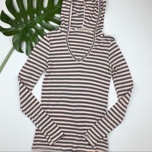 Michael Stars Pullover Hoodie Striped One Size
